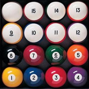 Full set of billiards balls
