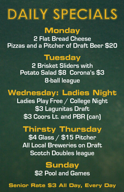 daily specials at our local pool hall